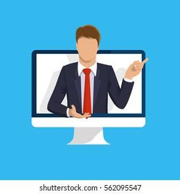 Online learning. E-learning webinar presentation concept. Computer screen, teacher businessman. Flat design illustration for web site, mobile upp