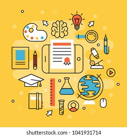 Online learning flat design distant education video tutorials staff training store learning research knowledge vector illustration.