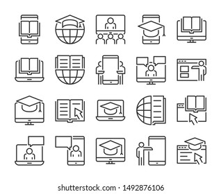 Online Learning icon. Online Education line icons set. Vector illustration.