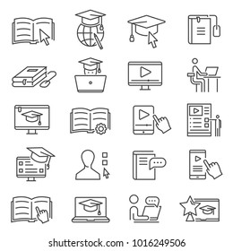 Online learning icon. Studying for qualification without need to attend classes on campus, online learning for higher education from home. Vector line art illustration