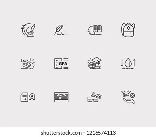 Online learning icons set. Hydrology and online learning icons with global education, pencil sharpener and gpa. Set of zoom for web app logo UI design.