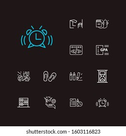 Online learning icons set. Informatics and online learning icons with audio course, gpa and hourglass. Set of drawing for web app logo UI design.