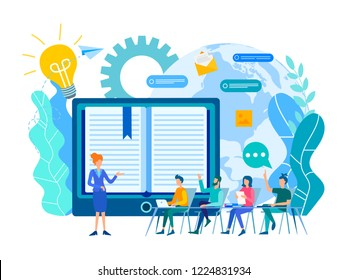 Online learning lessons, webinar and online education courses, the teacher teaches a group of students online. Vector illustration.