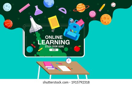 Online Learning, study from home, social distancing, back to school, flat design vector.