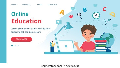 Online learning template with boy studying with computer. Vector illustration in flat style