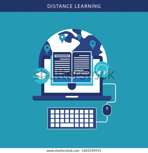 Online Learning Vector Distance Education Online Stock Vector Royalty Free 1603290931