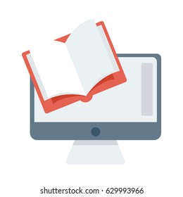 Online Learning Vector Flat Icon