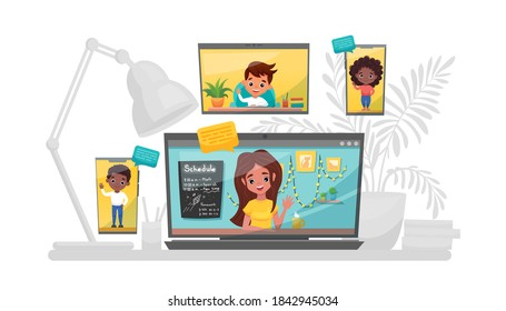Online learning vector illustration. Study at home, online test, distance learning concept. Teacher gets the online lesson with students using a smartphone, laptop and tablet