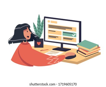Online learning vector stock illustration. The girl chooses the correct answer in test, smile. The concept of online learning at home, online test, distance learning. A brunette woman with dark skin. - Shutterstock ID 1719605170