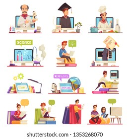Online learning video training support official college university courses qualifications diploma 13 cartoon compositions set vector illustration