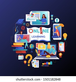Online learning web banner flat vector template. Electronic library, books e reading illustration. Internet video tutorials, distant classes and lessons, remote education poster design