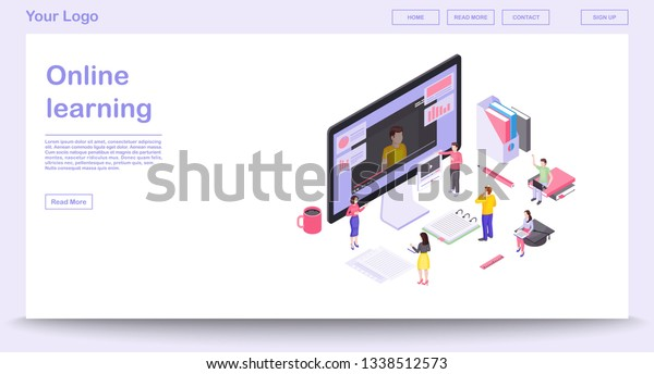 Online Learning Webpage Vector Template Isometric Stock Vector