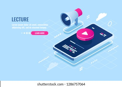 Online lecture isometric icon, internet course watch on mobile phone, play button on screen of smartphone, music player, digital technology, remote education, flat vector illustration blue white