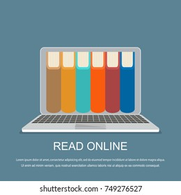 online library concept. Vector illustration. Flat design