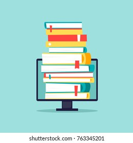 Online library, e-books. Computer with books. Flat design vector illustration.