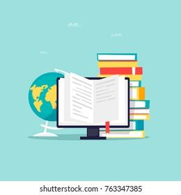 Online library, e-books. Flat design vector illustration.