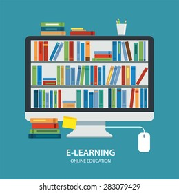 online library education concept flat design