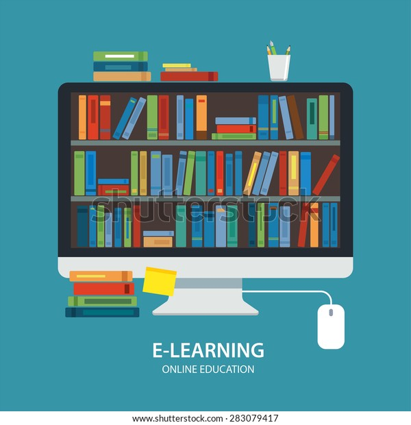 Online Library Education Concept Flat Design Stock Vector Royalty Free 283079417