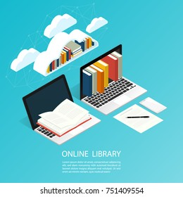 online library file isometric cloud ebook computer office work,education research vector