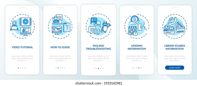 Online library helpline onboarding mobile app page screen with concepts. FAQ and Troubleshooting walkthrough 5 steps graphic instructions. UI vector template with RGB color illustrations