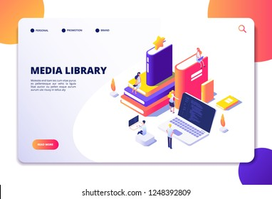 Online library isometric concept. People in bibliotheque, books laptops. Reading technology electronic library vector landing page