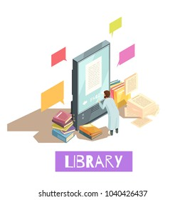 Online library isometric design concept with man reading electronic book on giant smartphone screen and stacks of paper books around vector illustration