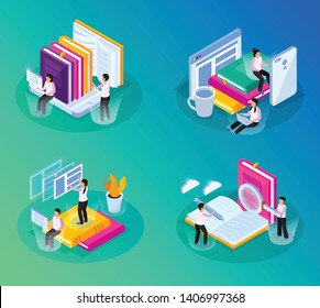 Online library isometric glow 4x1 set with compositions of conceptual images with books gadgets and people vector illustration