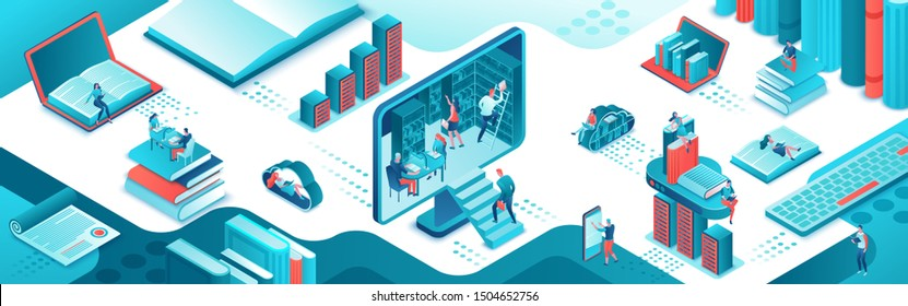 Online library isometric horizontal banner, people read books on laptop, smartphone, gadgets, cloud computing technolodgy, website template design