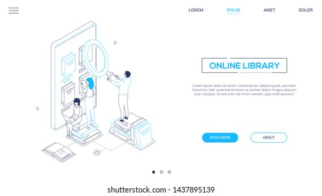 Online library - isometric line design style web banner with copy space for text. High quality header with cute characters, people taking books from bookshelf on smartphone screen. Reading concept