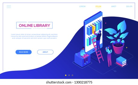 Online library - modern colorful isometric vector web banner with copy space for text. A composition with cute characters, people taking books from bookshelf on smartphone screen. Reading concept