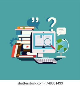 Online library vector concept illustration. Cool flat vector concept on online dictionary, data research or e-learning