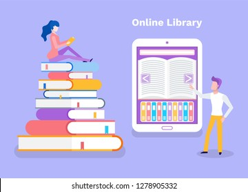 Online library woman sitting on pile of books vector. Lady studying, self education, man standing by ebook with opened literary work. Access to material