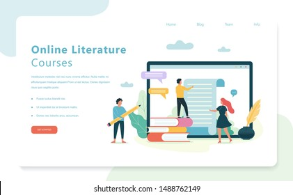 Online literature courses, school subject. Idea of education and knowledge. Study ancient writer and antique manuscript. Vector illustration in flat style isolated
