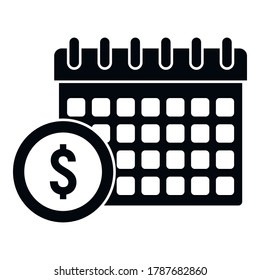 Online loan calendar date icon. Simple illustration of online loan calendar date vector icon for web design isolated on white background