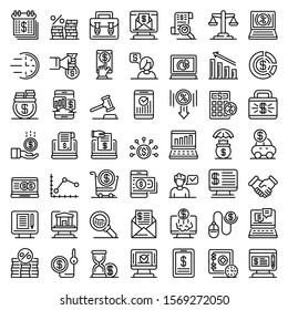 Online loan icons set. Outline set of online loan vector icons for web design isolated on white background