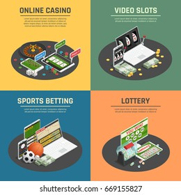 Online lottery casino sports poker gambling and video slot machines 4 isometric icons concept isolated vector illustration