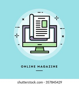 Online magazine, flat design thin line banner, usage for e-mail newsletters, web banners, headers, blog posts, print and more