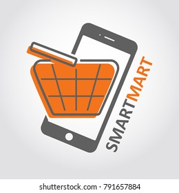 On-line market icon. Media store flat style logo. Concept of internet purchases, orders, media shopping app, e-comerce store. Mobile phone with shopping basket template.