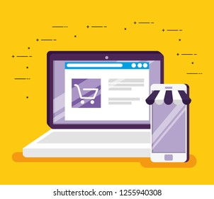 online market website in the laptop and smartphone