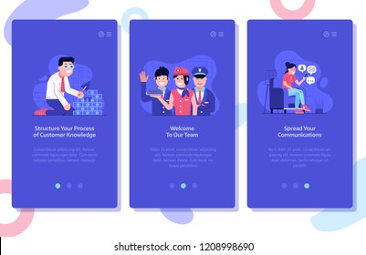 Online marketing and advertising onboarding mobile app page screens. Customer knowledge data, team hiring and spread social media communications concept UI illustrations with people using technology.