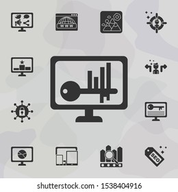 Online marketing, analysis icon. Universal set of online marketing for website design and development, app development