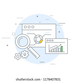 Online marketing and analytics icon - data statistics and web research