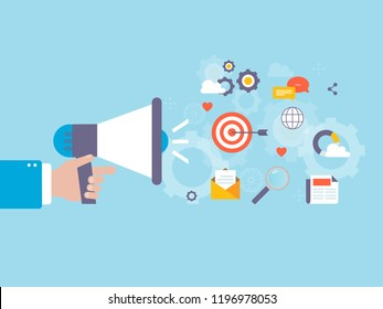 Online marketing campaign, digital content promotion and marketing, internet advertising flat vector illustration. Viral marketing, online ads design for web banners and apps