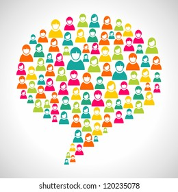 Online marketing: diversity people profile in social speech bubble shape. Vector file layered for easy manipulation and custom coloring.