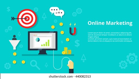 Online Marketing and pay per click concept. Digital marketing online promotion traffic concept internet bisiness and advertising icons. For website graphics, mobile apps, web page layout design.