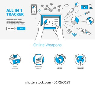 Online marketing & tracking tools. Linear infographic style banners for website.