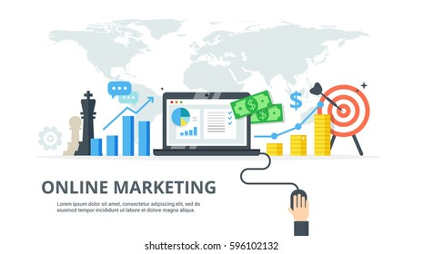 Online Marketing vector illustration. Internet business process - abstract banner in flat style. Concept of strategy, analytics, successful result and profit growth.