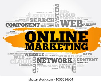 Online marketing word cloud collage, technology concept background