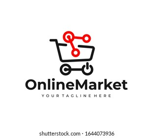 Online marketplace logo design. Online shopping vector design. Electronic commerce logotype