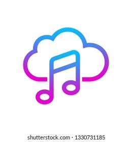 Online Media Cloud, audio streaming. Online music concept. Vector Illustration. EPS 10